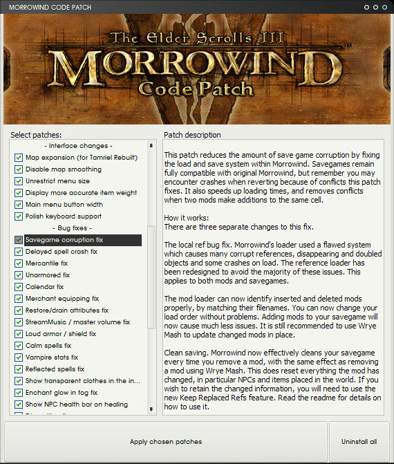 Morrowind code patch at morrowind nexus mods and community.